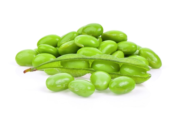 Green soybeans isolated on white background