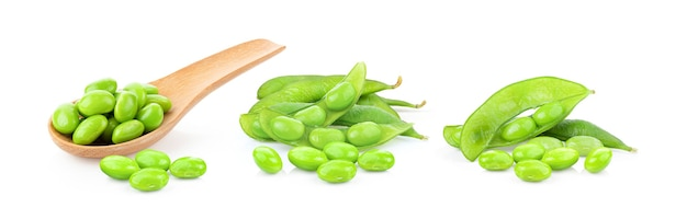 Green soybeans isolated on white surface