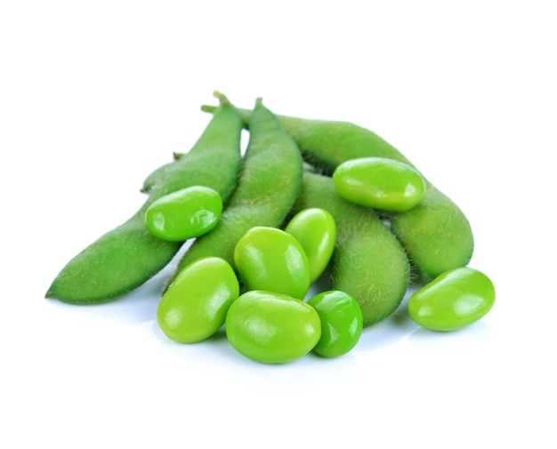 Green soybeans isolated on white