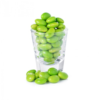 Green soybeans on white