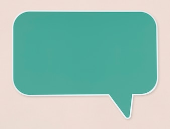 Green speech bubble icon isolated