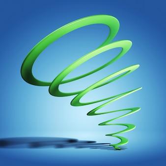 Зеленая спираль с тенью на синем