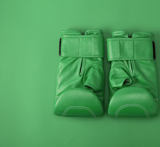 Green sport leather boxing gloves