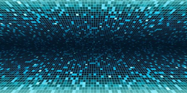 녹색 사각형 모자이크 과학 기술 3d 일러스트를위한 중앙 배경 이미지에서 실행되는 관점 결과를 보여줍니다.