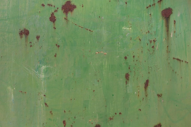 Green stained metal wall