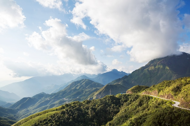 Green steep mountains in vietnam