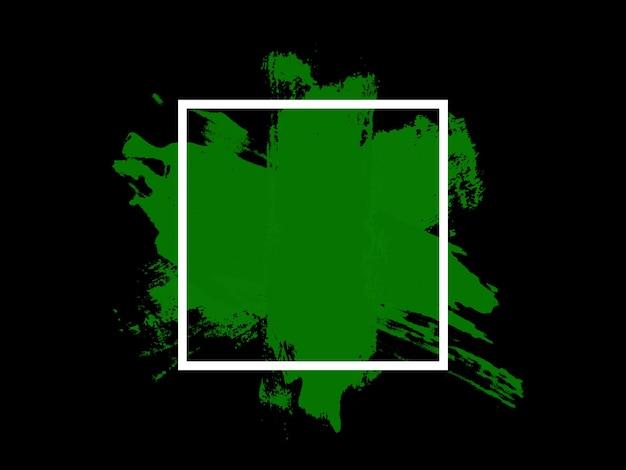 Зеленые штрихи в белом квадрате, изолированном на черном фоне. фото высокого качества