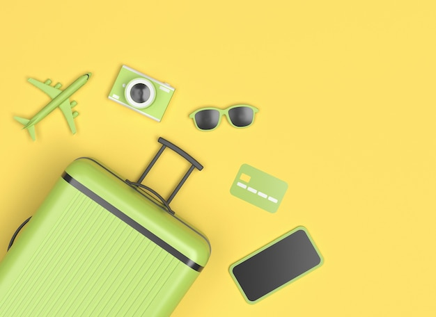 Green suitcase with sunglasses, smartphone, credit card and little plane on yellow background.