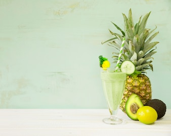 Green summer smoothie with pineapple