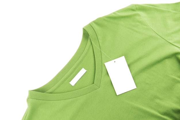 Green t-shirt and blank label