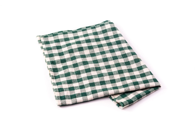 白い背景で隔離の緑のテーブルクロス
