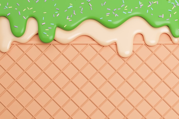緑茶とバニラアイスクリームをウェーハの背景に溶かします。、3dモデルとイラスト。