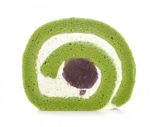 Green tea cake roll isolated on white