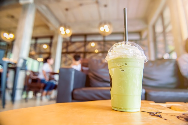 Green tea frappe and blended. sweet and cold water