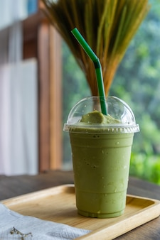 Green tea frappe in cafe