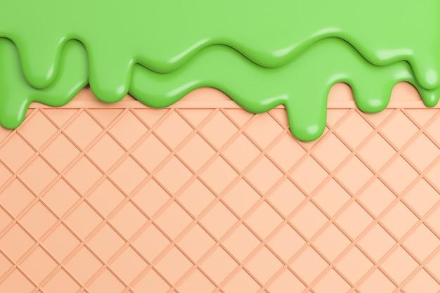 ウェーハの背景に溶けた抹茶アイスクリーム。、3dモデルとイラスト。