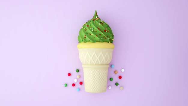 Green tea ice cream and vanilla ice cream topped with colorful desserts on pink