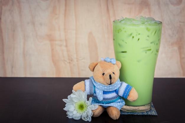 Green tea ice on the table
