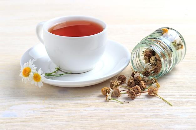 瓶の中のカモミールと受け皿のカップの緑茶