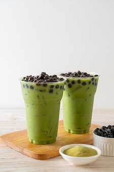 Green tea latte with bubble