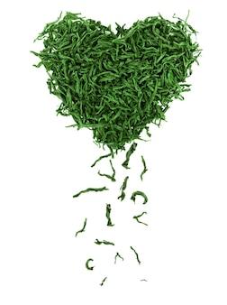 Листья зеленого чая, изолированные на белом фоне, вид сверху