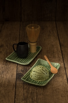 Green tea matcha ice cream japanese on tatami decoration style traditional sweet and cold