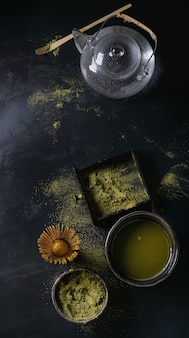 Green tea matcha powder and drink