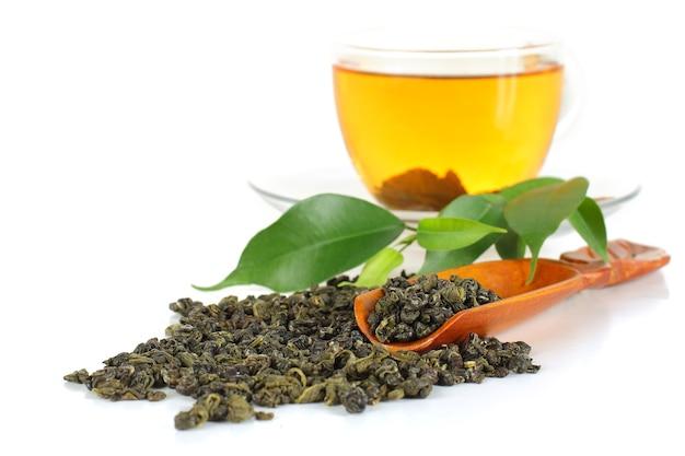 白地に緑茶