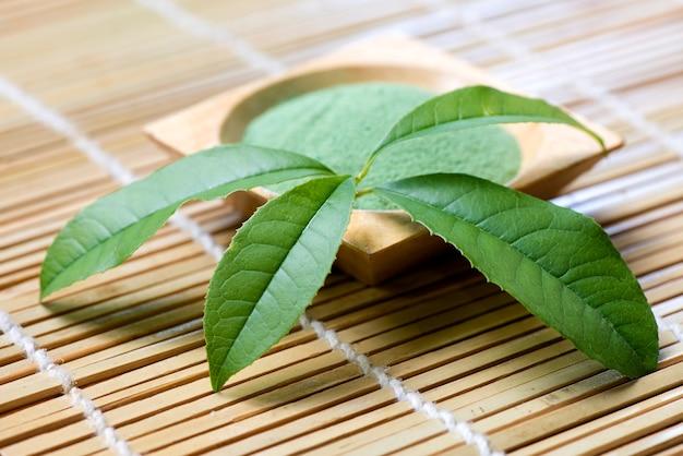 자연 배경에 녹차 가루와 녹색 잎.