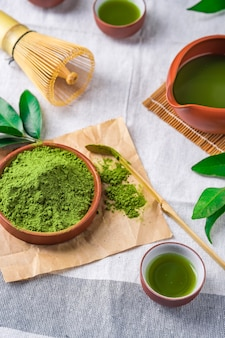 Green tea powder with leaf in ceramic dish on the table, japanese wire whisk made of bamboo for matcha tea ceremony