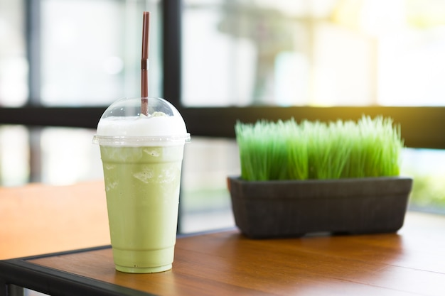 Green tea smooties in coffee shop with the morning sun light