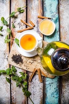 Green tea with lemon, mint and cinnamon top view.
