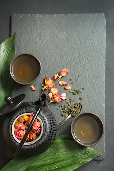 Green tea with rose flower