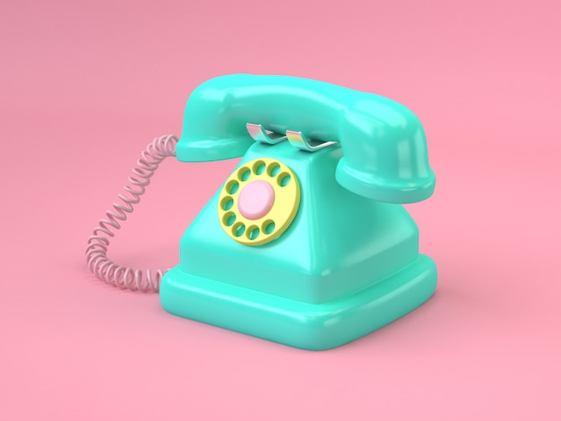 Green telephone cartoon style 3d rendering technology concept