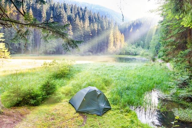 푸른 물과 아침 햇살이 있는 산속의 숲 호수 근처에 있는 녹색 텐트
