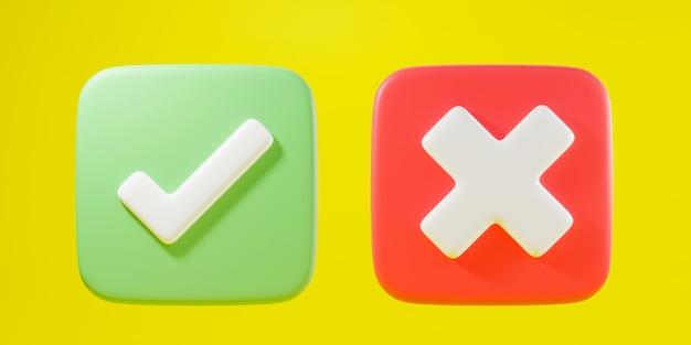 正方形の3dレンダリングイラストの緑のチェックマークと十字マーク記号アイコン要素