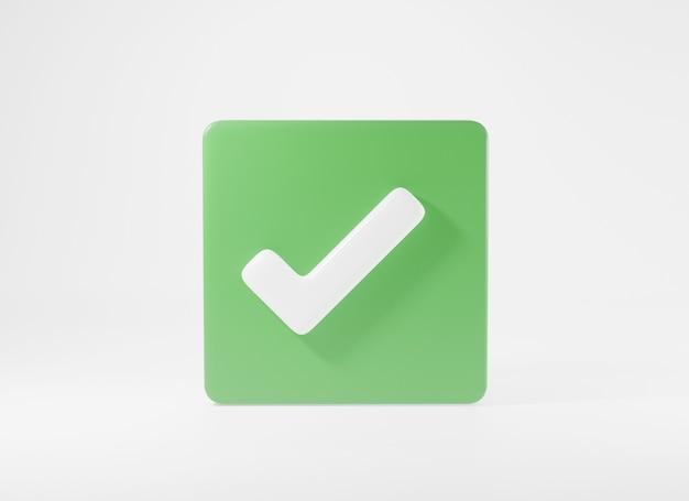 녹색 눈금 확인 표시 기호 아이콘 요소 예 모양 버튼 3d 렌더링 그림