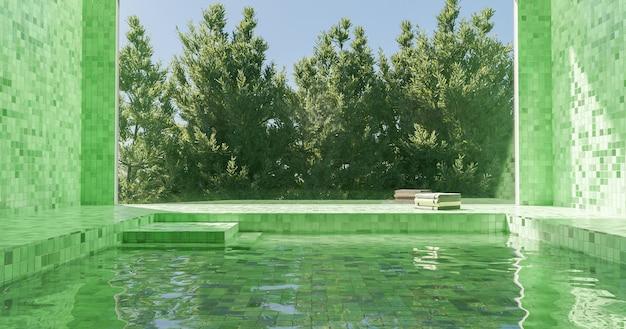 表面にタオルの山があり、後ろに松の木がある大きな窓のある緑のタイル張りの屋内プール