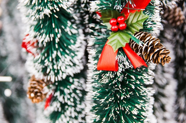 Green tinsel with cone. new year decorations