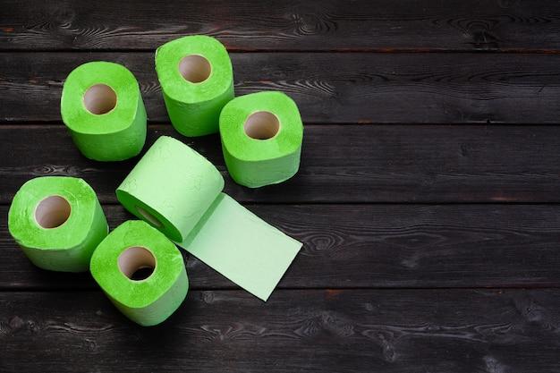 Green toilet paper rolls