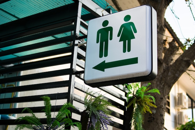 Green toilet signs