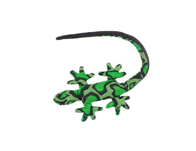 흰색 배경에 고립 된 녹색 장난감 도마뱀