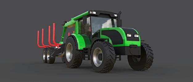 灰色の背景にログオンするためのトレーラー付きの緑のトラクター。 3dレンダリング。