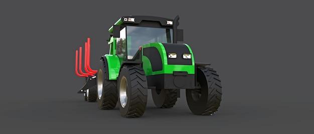 Зеленый трактор с прицепом для лесозаготовки на серой поверхности