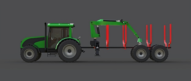Green tractor with a trailer for logging on a gray surface