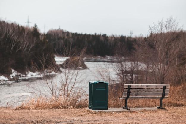 Зеленый мусор возле скамейки