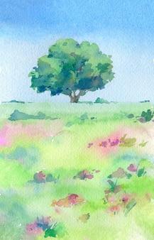 Зеленое дерево в поле. акварель рисованной иллюстрации.