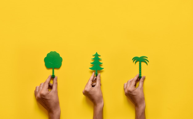 Green trees on yellow . nature ecology flat lay. copyspace