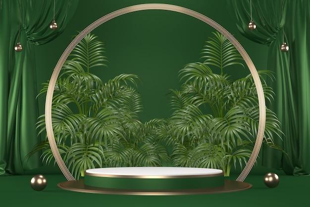 검은 배경 .3d 렌더링에 녹색 열 대 화강암 연단 형상 및 식물 장식