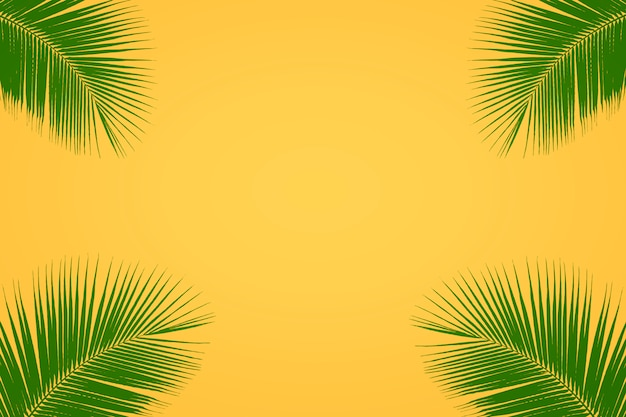 Green tropical palm leaves on bright yellow background, summer background